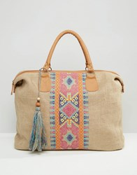 America And Beyond Cross Stitch Embroidered Jute Travel Weekender Bag Multi