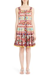 Dolce And Gabbana Women's Print Poplin Full Skirt Sundress