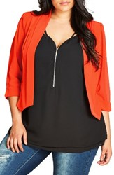 City Chic Plus Size Women's Crop Blazer Orange