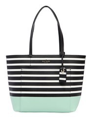 Kate Spade Small Riley Vinyl Tote Bag Black Aqua White
