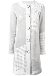 Drome Collarless Leather Coat White