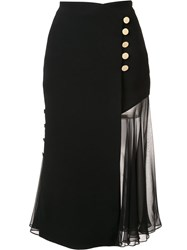 Prabal Gurung Sheer Panel Skirt Black