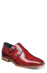 Stacy Adams Tayton Cap Toe Double Strap Monk Shoe Red Leather