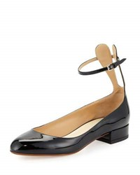 Francesco Russo Patent Ankle Strap Ballerina Flat With Bunny Ears Flesh