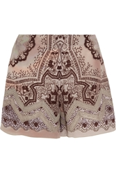 Etro Lace Paneled Printed Silk Crepe Shorts