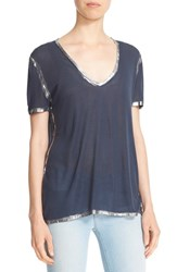 Zadig And Voltaire Women's 'Tino' Foil Accent Tee Marine