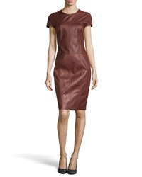 Jason Wu Leather Short Sleeve Dress Sienna Brown
