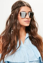 Missguided Gold Geometric Frame Sunglasses