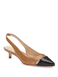 Aerin Padima Leather Slingback Kitten Heels Caramel Blue