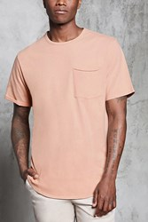 Forever 21 Curved Hem Pocket Tee Pink