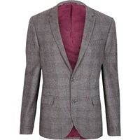 River Island Grey Check Cropped Skinny Fit Suit Jacket