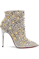 Christian Louboutin So Full Kate 100 Embellished Glittered Leather Ankle Boots Silver
