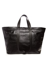Balenciaga Carry Medium Creased Leather Tote Black