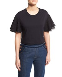 See By Chloe Boxy Cropped Jersey Tee With Embellished Sleeves Dark Night
