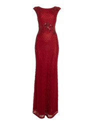 Shubette Floral Sequin Gown Red