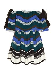 Fendi Wave Magnetic Bow Off The Shoulder Dress Blue Multi