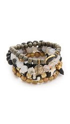 Lacey Ryan Rebel Bracelet Set Black White Gold