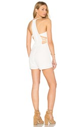 Oh My Love Side Strap Halter Romper White
