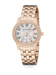 Saks Fifth Avenue Mother Of Pearl Pave Crystal And Rose Goldtone Stainless Steel Watch