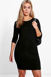 Boohoo Macie 3 4 Sleeve Bodycon Dress Black