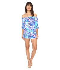 Lilly Pulitzer Lana Romper Multi Hit The Spot Women's Jumpsuit And Rompers One Piece Blue