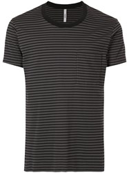 Attachment Striped Fitted T Shirt Black