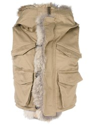 Dsquared2 Coyote Fur Trimmed Gilet Nude Neutrals