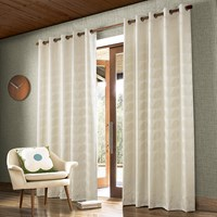 Orla Kiely Jacquard Stem Eyelet Curtains Clay Cream