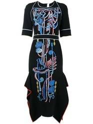 Peter Pilotto Embroidered Mid Length Dress Black