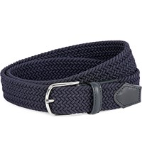 Canali Woven Leather Belt Navy