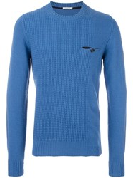 Paolo Pecora Contrast Cable Knit Jumper Blue