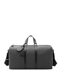 Gucci Gg Supreme Canvas Large Carry On Duffel Bag Black