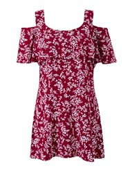 Grace Made In Britain Cold Shoulder Tunic Top Red