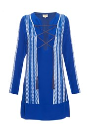 Zeus Dione Thasos Embroidered Silk Crepe Dress