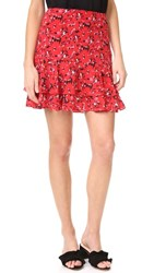 Grey Jason Wu Print Miniskirt Cadmium Red