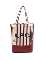 A.P.C. Axelle Striped Canvas And Leather Tote Bag Burgundy Multi