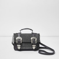 River Island Womens Grey Western Buckle Mini Satchel Bag