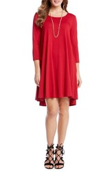 Karen Kane Women's 'Maggie' Three Quarter Sleeve Trapeze Dress Red