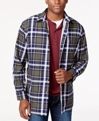 Club Room Plaid Shirt Jacket Only At Macy's Olive Mist