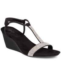 Styleandco. Style Co Mulan 2 Embellished Evening Wedge Sandals Created For Macy's Women's Shoes Black Silver