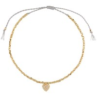 Estella Bartlett Grace Nugget Bead And Cubic Zirconia Set Heart Charm Friendship Bracelet Gold