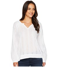 Dylan By True Grit Clean Lines Eyelet And Embroidery Cotton Voile Top With Solid Border Cuff Collar White Long Sleeve Pullover