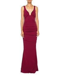 Nicole Miller Ruched Sleeveless Gown Berry