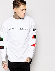 Black Scale Sweatshirt With Flag Sleeves White