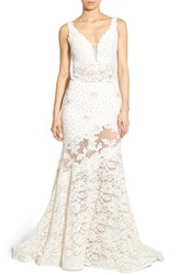 Women's Jovani Embellished Lace Mermaid Gown