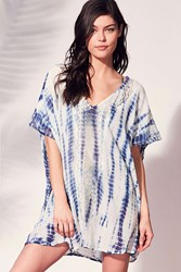 Out From Under Shibori Mini Caftan Cover Up Navy