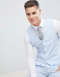 French Connection Wedding Linen Slim Fit Waistcoat Blue