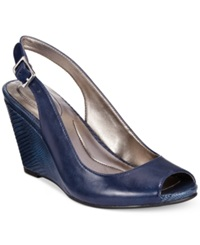Style And Co. Babeta Slingback Dress Wedge Sandals Women's Shoes Navy