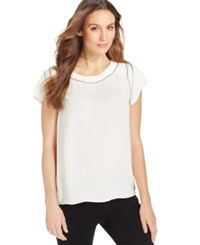 Calvin Klein Jeans Zipper Trim Scoop Neck T Shirt
