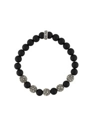 King Baby Studio Stingray Beaded Bracelet Silver Black